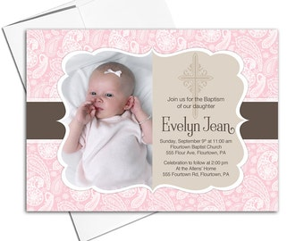 Custom Baby girls baptism invitations with photo | pink and brown girl invitations - Willow Lane Paper WLP00201