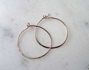 Hammered Silver hoop earrings - thin hoop earrings - treat yo' self - thin silver hoop earrings - simple hoop earrings - boho hoop earring