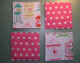 Drink Coasters - Set of 4 - Bird Cage on White