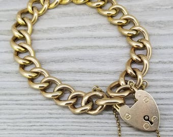 INVENTORY CLEARANCE  Heavy vintage curb bracelet with padlock in yellow gold