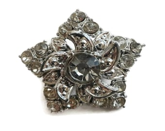 Vintage Double Layer Star Crystal and Silvertone Brooch