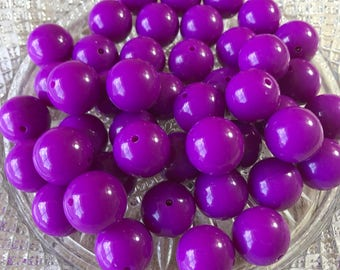 20mm Chunky Beads , Neon Purple Solid Chunky Bubblegum Beads , 10pc bead set , Wholesale beads , Gumball beads