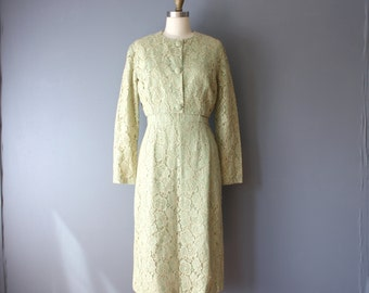 vintage 60s lace dress jacket set / mint green with pale gold lace / wiggle dress / cropped jacket