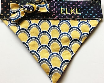 Blue and Yellow Polka Dot Embroidered Bandana for Male Dogs and Cats