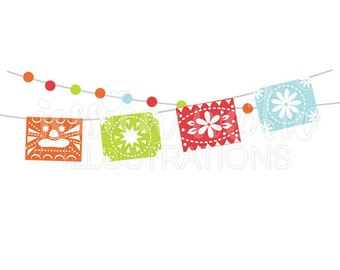 Fiesta Party Banner Cute Digital Clipart, Cinco De Mayo Clip art, Fiesta Bunting Graphic, Mexican Party Garland Illustration, #1619