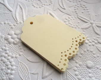 25 Cream Lace Gift Tags-Hang Tags-Price Tags-Blank-Craft Punch-Doily Lace