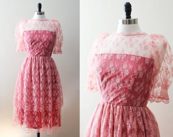 Vintage Lace Dress, 60s Pink Lace Dress, 50s Lace Overlay Dress 1960s vintage