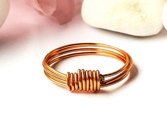 Band ring, Wire wrapped copper ring, Copper wire ring, Copper ring, Simple ring, Wire ring, Minimalist ring, Stacking ring, Handmade gift