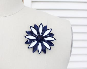 Vintage 1960s Enamel Flower Brooch / Navy Blue and White Large Statement Pin