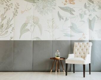 Breezy Botanical Mural - Floral Scene Wallpaper, Garden Scene
