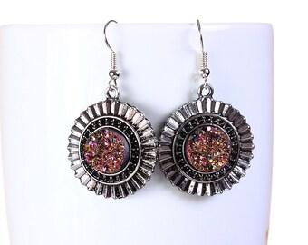 Antique silver gold and pink faux dusy dangle earrings - Nickel free lead free earrings (794) earrings