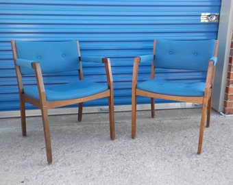 Pair of two mid century modern arm chairs blue retro wood lounge jasper chai company home or office