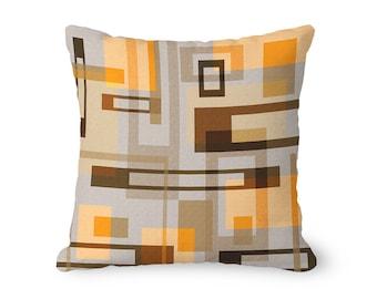 Geometric pillow cover, tan pillow, throw pillow cover, mid century modern pillow, abstract pillow, masculine decor, decorative pillow