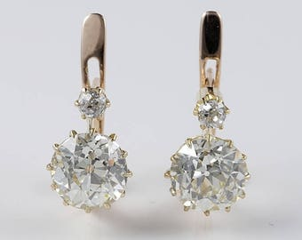 Magnificent Victorian 3.90 Ct solitaire diamond plus earrings