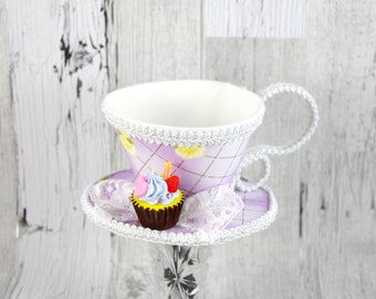 Purple and White Yellow Rose Lattice with Cupcake Tea Cup Fascinator Hat, Alice in Wonderland Mad Hatter Tea Party, Derby Hat