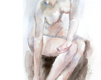 Original watercolor painting of the female nude-02, Holiday present / birthday present / art collection