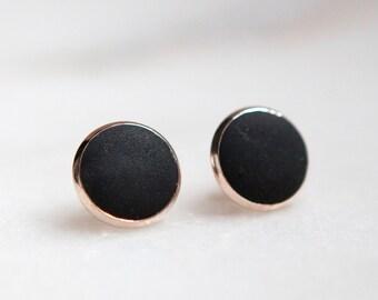 Concrete Earrings Circle Stud (Dark)