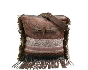 Taupe cross body bag fake fur, bohemian purse handmade, brown handbag western, fringed bag boho style, unique gift for woman, fabric purses