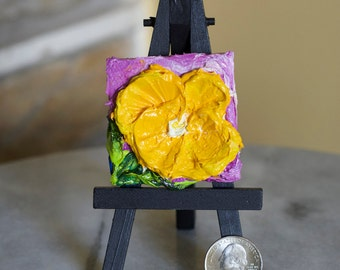 Little Yellow Pansy 2x2 Original Impasto Oil Painting by Paris Wyatt Llanso