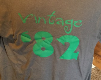 Clearance Sale Vintage '82 Shirt, 34th Birthday Gift Idea, Size Adult Medium Charcoal Grey Only, Birthday Parties Sale