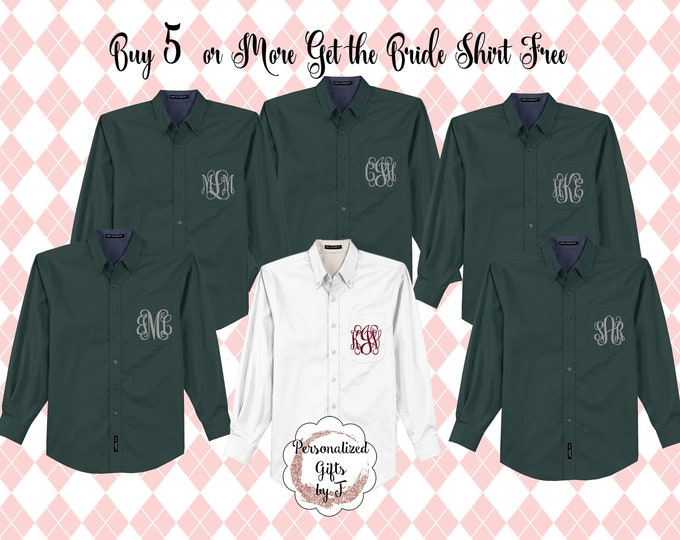 6 Bridesmaid Shirts, Monogrammed, Oversized, Bridal Party Shirts, Personalized, Getting Ready Shirt, Bridesmaids Gift, Bachelorette Party