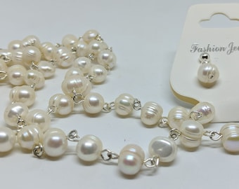 Fresh Water Pearl Necklace and Earring Set
