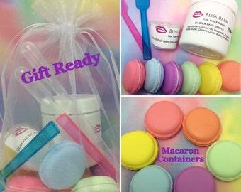 Macaroon lip balm making kit DIY lip balm Homemade lip balm supplies Make your own Lip gloss kit lip balm molds DIY Gift Bliss Balm