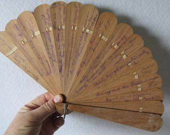 Antique Grand Tour Souvenir Ladies Fan, Wood with Many Signatures