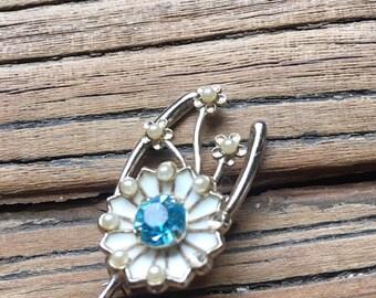 SALE Vintage Coro Blue Rhinestone Faux Pearl Flower Brooch, Gold Tone Brooch, Flower Pin, Vintage Coro Jewelry
