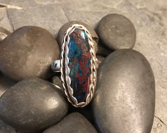 blue and brown long oval ring. Shattuckite sterling silver ring size 7.25