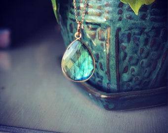 Maui Liquid Sunshine Bezel set Labradorite Pendant on gold fill chain