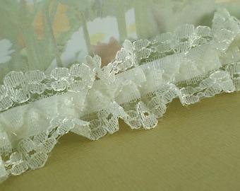 Elastic Ruffle Lace Trim Light Ivory Glitter 7/8 inch 22mm Wide Stretch Trim diy wedding bridal Garter Sewing Elastic