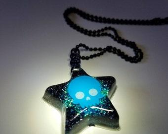 Brain Freeze Star Resin Pendant Necklace Glitter OOAK