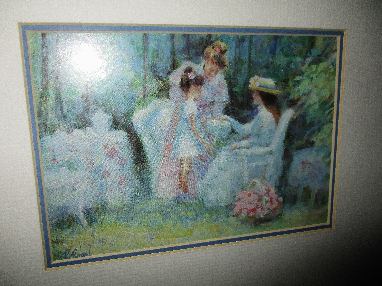 Viktorianischen Kunstdruck mit Rahmen von Künstler R. Tolan