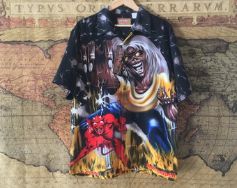 IRON MAIDEN - Number Of The Beast Button Up Shirt Made by Dragonfly Clothing Co. Made in the U.S.A. NEW with Tags! Vintage Very Rare!