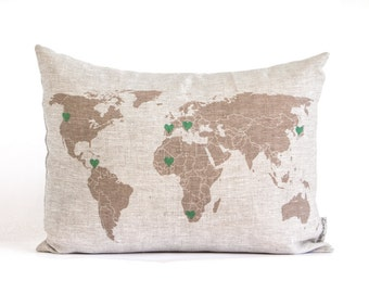 Personalized World Map Pillow, Traveler Gift, World Map Pillow, Gift for Him, Linen Anniversary Pillow, Rustic Decor