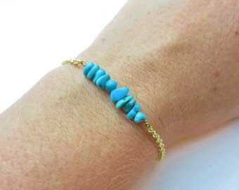 Turquoise Bracelet, Gold or Silver Bracelet with Turquoise Chips, Gemstone Bracelet, December Birthstone Turquoise Jewelry, Bohemian Jewelry