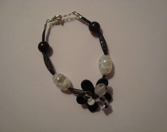Black and white bracelet with Rhinestones