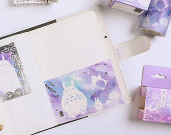 Cute Totoro Sticker Washi Tape, Kawaii Pastel XL Wide Washi Tapes with Silver Foil Metal Detail, My Neighbor Totoro