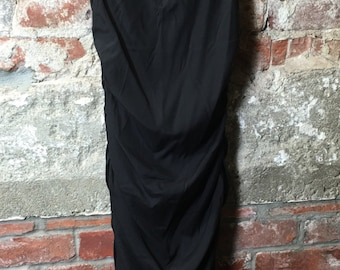 Vintage 90s Black Silk Fitted Gathered Little Black Dress Size Small