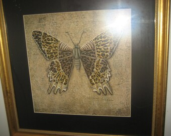 large Leopard/Cheetah Butterfly Painting in Gold frame