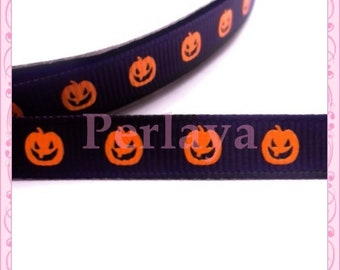 1 meter of Ribbon 9mm grosgrain pattern pumpkin halloween black orange