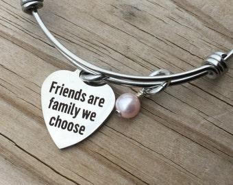 """Friendship Charm Bracelet- """"Friends are family we choose"""" laser etched charm with an accent bead in your choice of colors"""