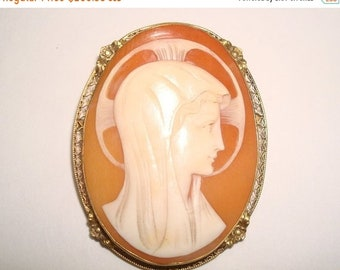 ON SALE NOW Antique Carved Cameo Madonna Brooch in Filigree Sterling Vermeil. Italian. Shell.