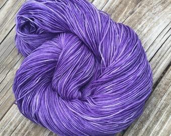 Hand Dyed Sock Yarn Avast ye Wildcats Royal Purple Hand Painted sockyarn 463 yards superwash merino nylon fingering Treasured Toes ksu emaw
