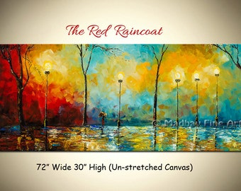 Art painting, Abstract acrylic painting, Impasto landscape painting, Large art on canvas by Madhav - Size: 72'' x 30'' (183cm x 76cm)