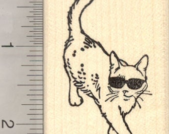 Cat in Sunglasses Rubber Stamp H28215 Wood Mounted