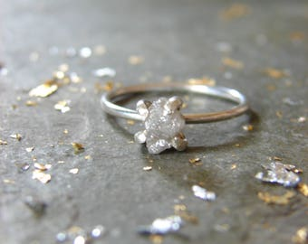 Uncut Diamond Ring, 1.3 ct Diamond and White Gold Engagement Ring, Wedding Ceremony, April Birthstone Gift, Propose to my Girlfriend, Size 6