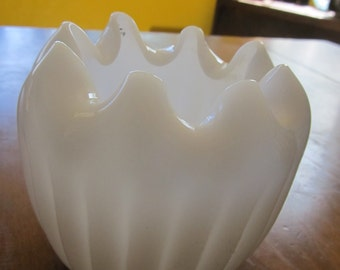 Antique Ruffled Milk Glass Vase