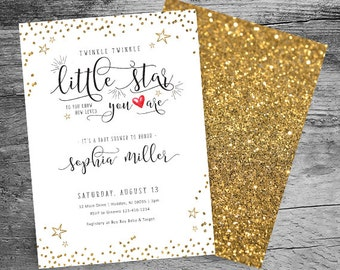 Twinkle, Twinkle Little Star Baby Shower Invitation - Gold Glitter Invitation - Gender Neutral Baby Shower - 5x7 Printable Invitation